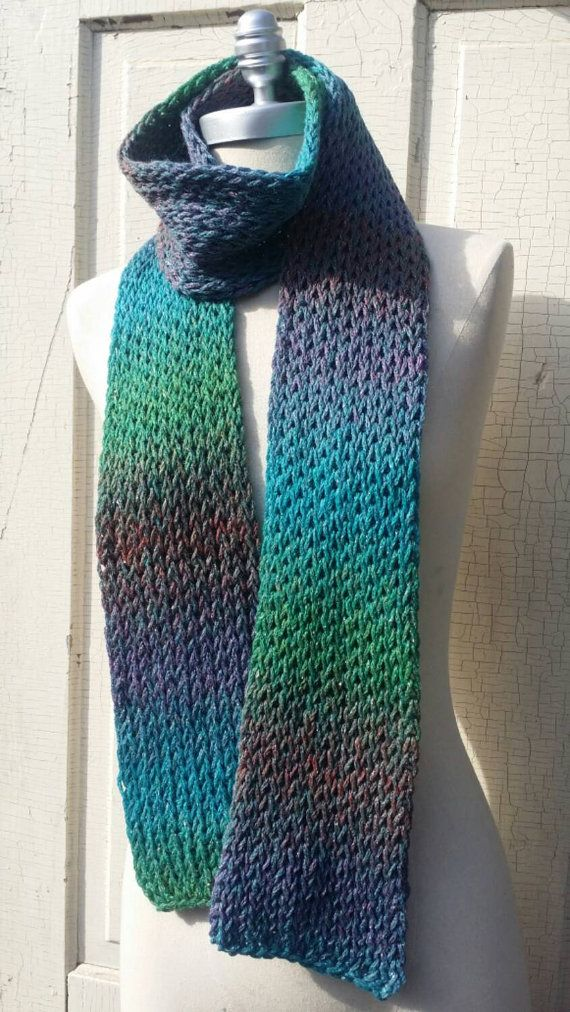 Check out this item in my Etsy shop https://www.etsy.com/listing/209178296/knit-scarf-shades-of-green-and-blue