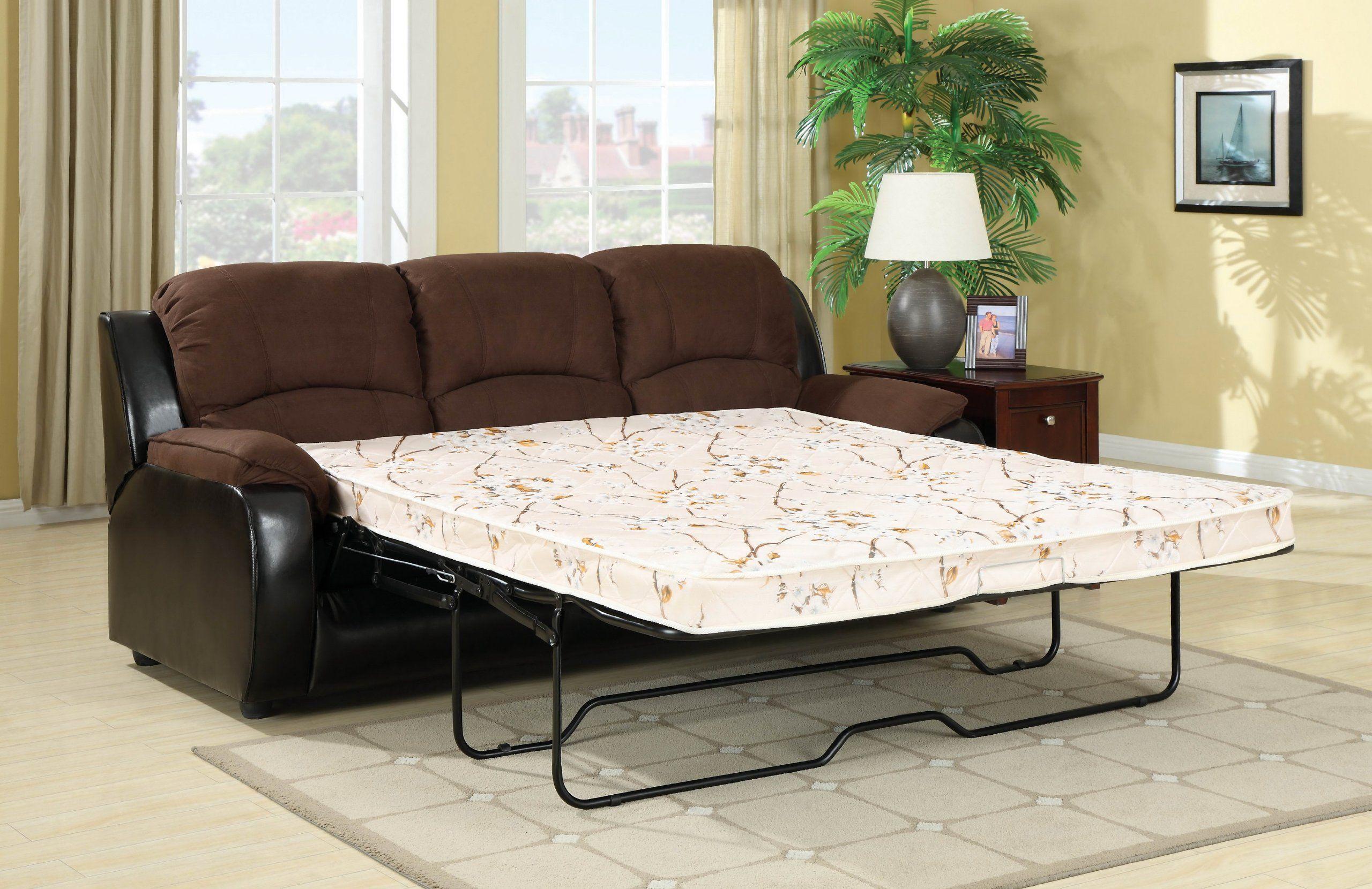 Furniture of America Adam Microfiber Sleeper Sofa Brown