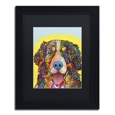 "Trademark Art ""Bernese Mountain Dog"" by Dean Russo Matted Framed Painting Print Size: 14"" H x 11"" W x 0.5"" D"