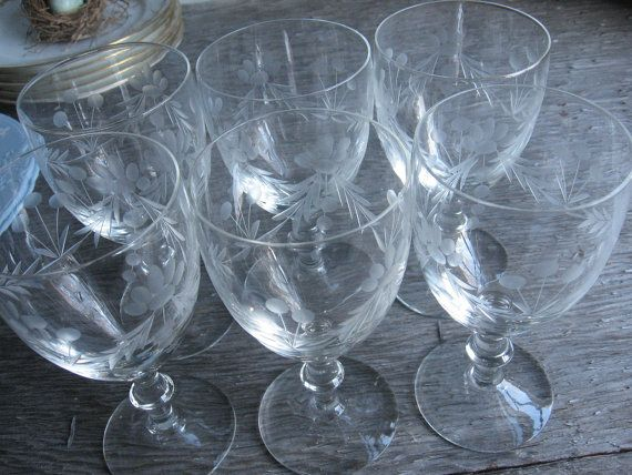 Set of 6 Etched Vintage Water Goblets Available at Blue Thistle Paperie on Etsy!  Click here for details https://www.etsy.com/listing/271895906/set-of-6-etched-vintage-water-goblets-or?ref=shop_home_active_14