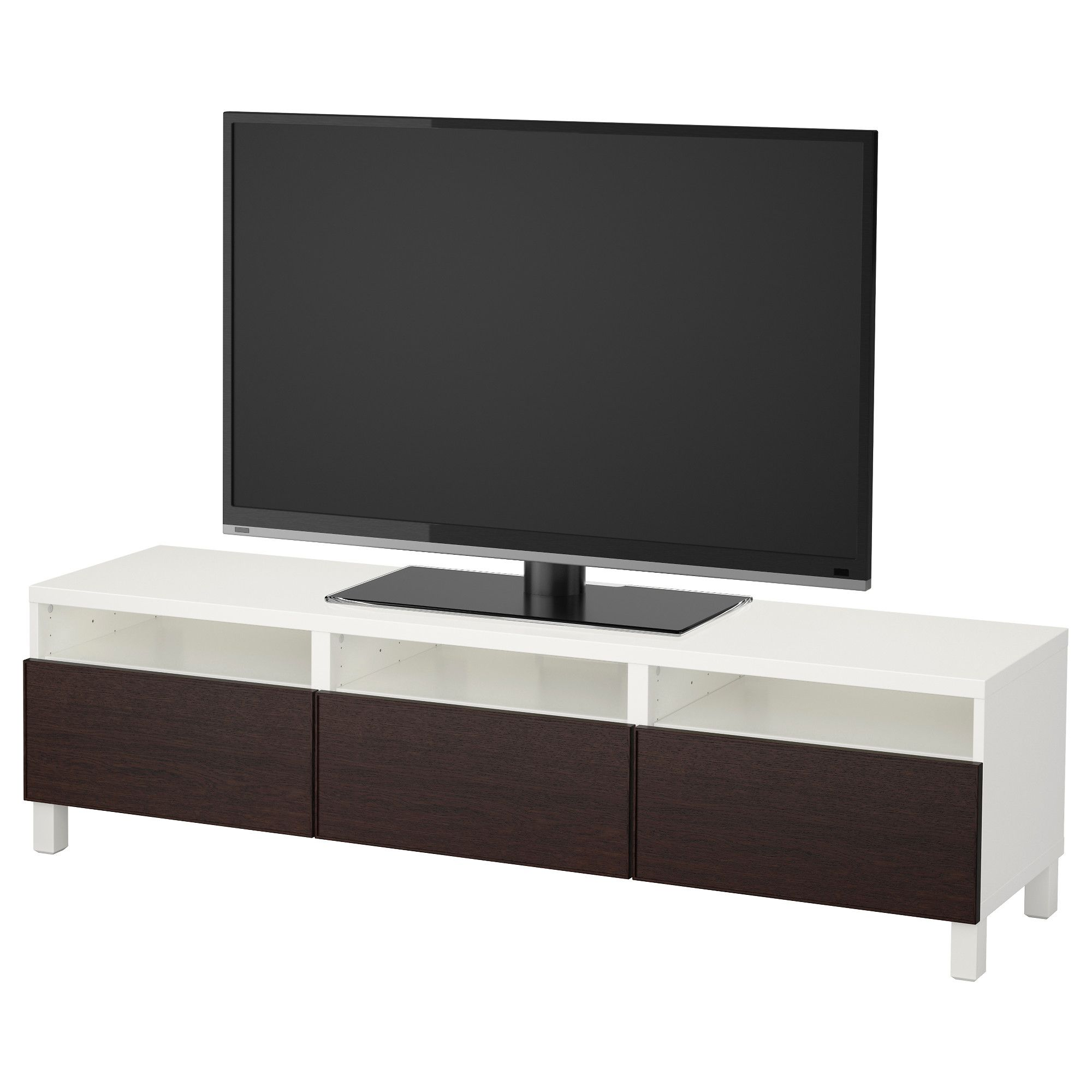 Best Tv Bank Mit Schubladen Wei Schwarzbraun Jetzt Bestellen  # Le Corner Meuble Tv Blanc Led Hi Fi Integre