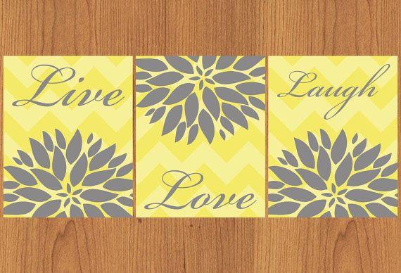 Live Laugh Love Floral Flower Burst Grey Yellow Chevron Bathroom Spa ...