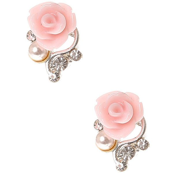 Pale Pink Rose Stud Earrings 3 75 Liked On Polyvore Featuring Jewelry Accessories Orni Jewellery
