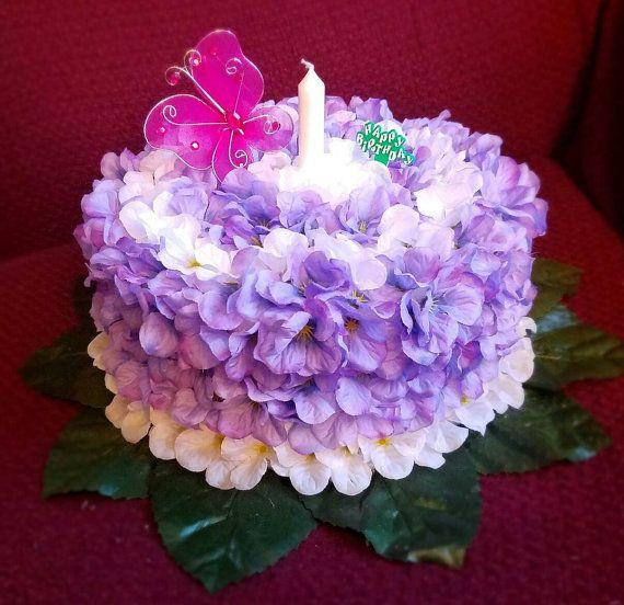 Silk Flower Birthday Cake Grave Decoration By Memorialsinsilk