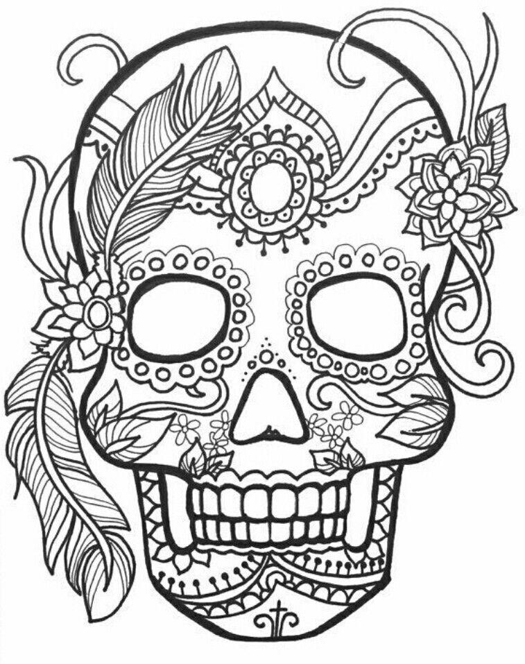 Halloween Sugar Skull Coloring Page Free Printable Calaveras