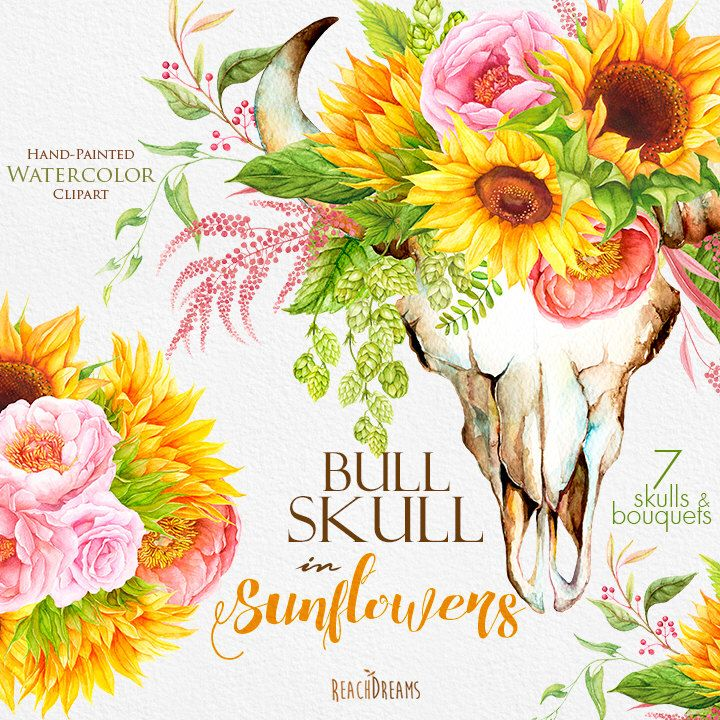 Sunflowers Watercolor Bull Skull With Floral Bouquets Bohemian Boho Rustic Flowers Hand