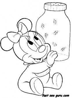 printable disney characters baby minnie mouse coloring pages