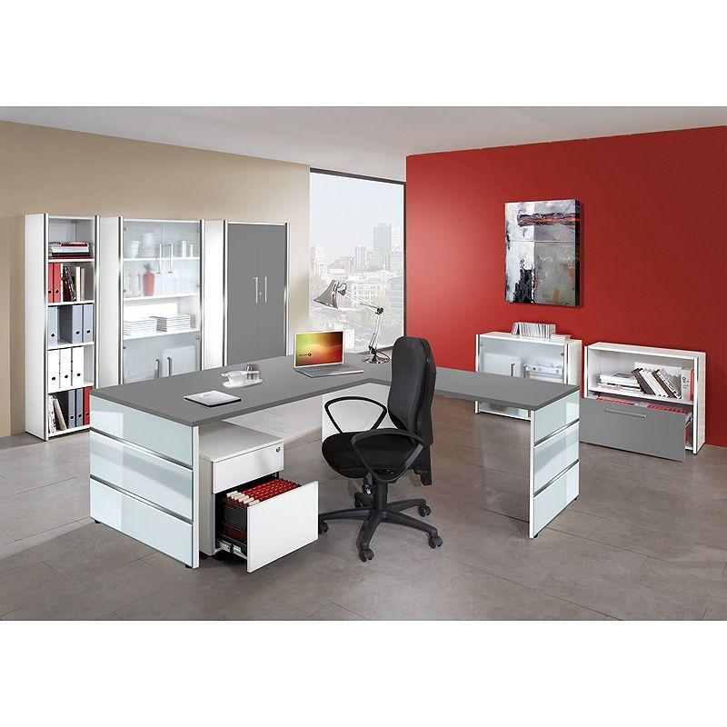 e-combuy Angebote Büromöbel Set LUGANO257 grafit, weiß, Glas ...
