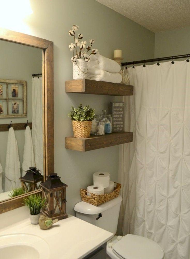 Awesome 54 Small Country Bathroom Designs Ideas 99 Decor Small Bathroom Furniture Rustic Wood Floating Shelves Farmhouse Bathroom Decor