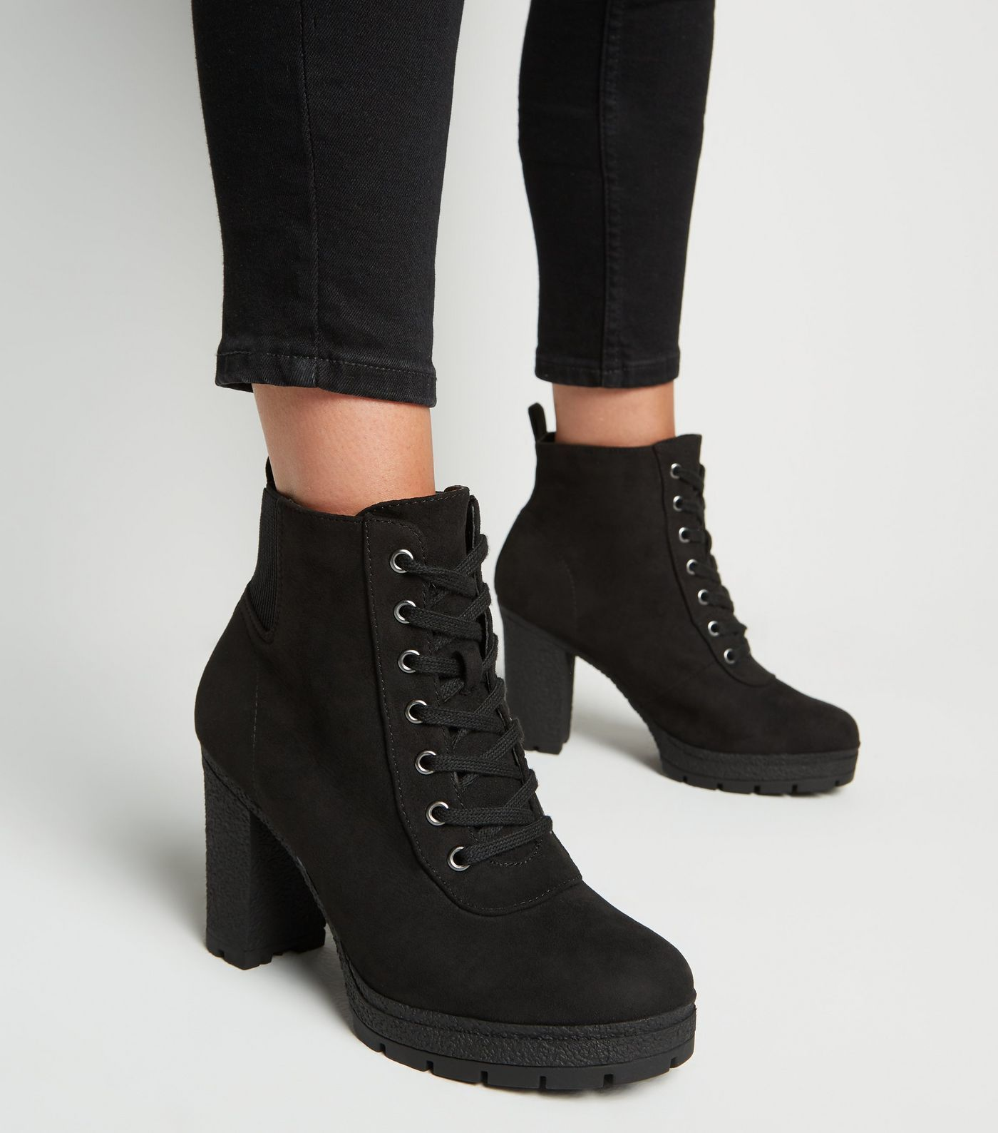 undefeated x really comfortable best cheap Wide Fit Black Lace Up Heeled Hiker Boots | Boots, Black heel ...