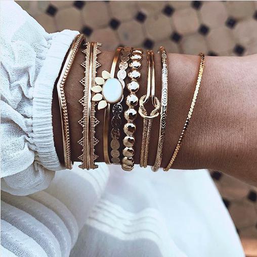 Bohême Multicouche Perles Bracelet Jonc Bangle Charm Jewelry Beach Party Cadeau