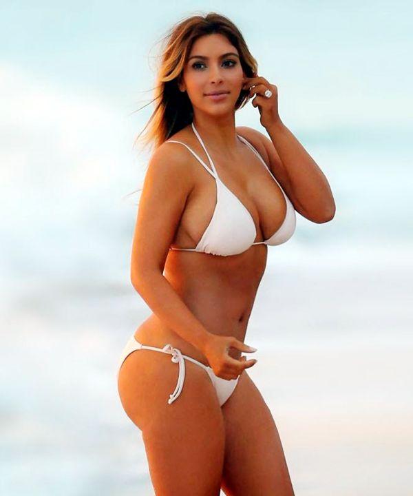 084dada6547 American Model Kim Kardashian in White Bikini Looks