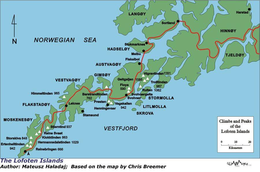 Lofoten Islands Road Map