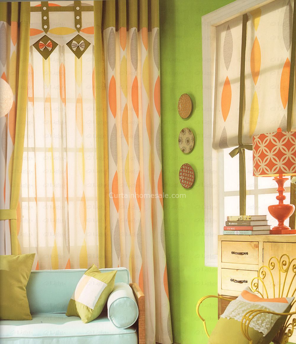 Colorful geometric modern curtains 2016 new arrival no valance