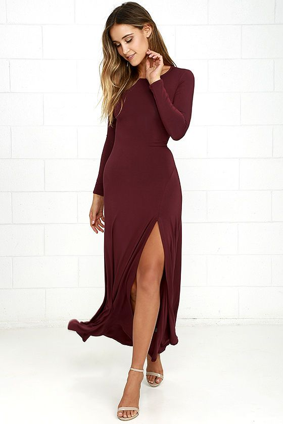3c9785f5004 Feel like you re walking on air in the Swept Away Burgundy Long Sleeve Maxi  Dress! Super soft and stretchy jersey knit shapes a rounded neckline