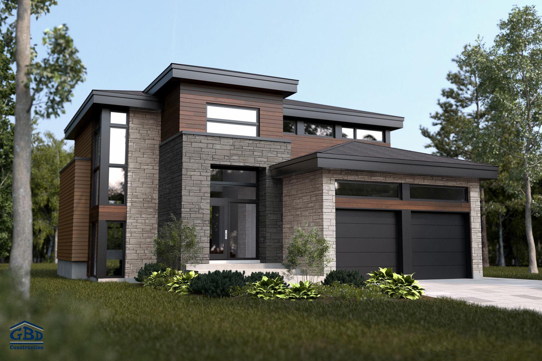 Maison Contemporaine Avec Garage 1e étage Recherche Google House Designs Exterior House Exterior Facade House