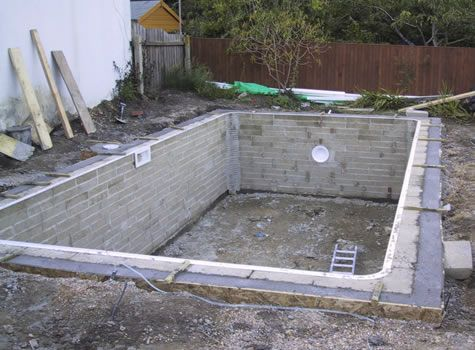 Diy with cinder blocks to the outer edge of the pool for Concrete swimming pool construction