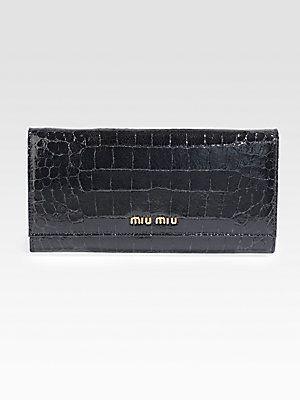 Miu Miu Crocodile Embossed Leather Continental Wallet Embossed Leather Wallet Miu Miu