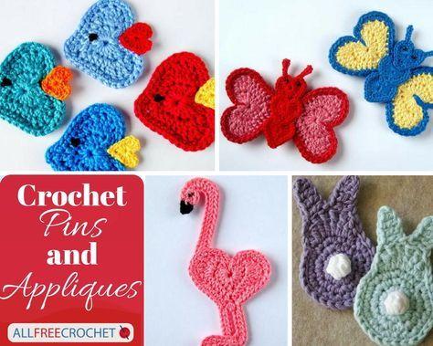 42 Crochet Applique Patterns (Including Crochet Pins) #crochetapplicates