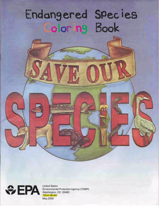 FREE Endangered Species Coloring Book From The EPA Yay