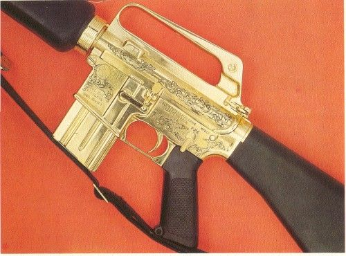 This is the GOLD-PLATED AR-15 presented to President Kennedy