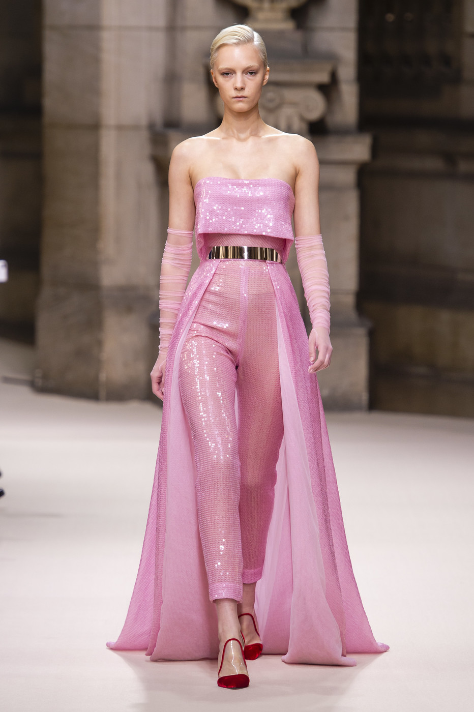 Galia Lahav | Fall 2018 Couture | 08 Pink sequined belted strapless jumpsuit with train