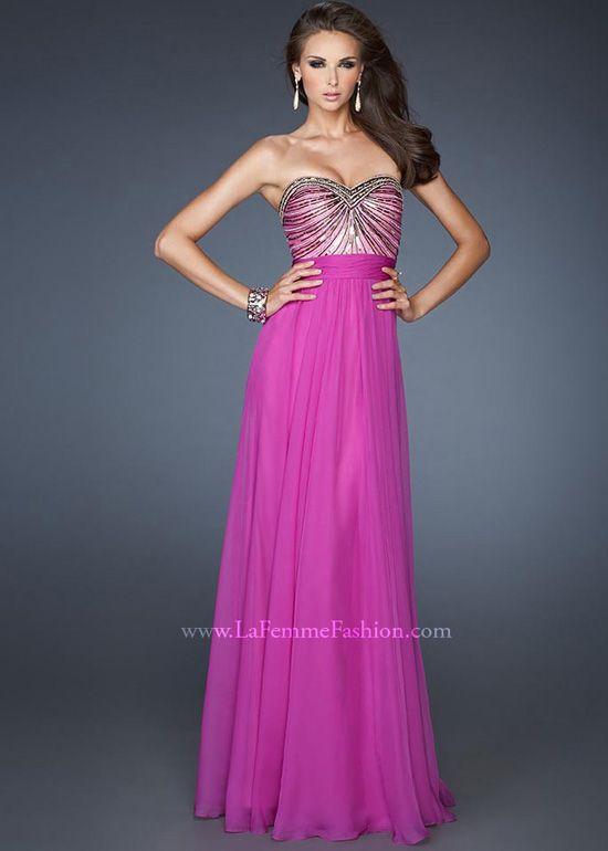 Beautiful Magenta Chiffon Evening Gown - Prom Dress - La Femme 18897 ...