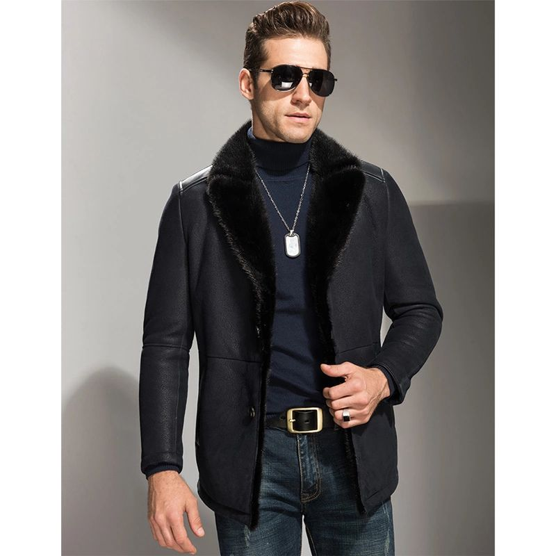 $594 Men's Shearling Jacket Men's Black Mink Fur Collar Long Coats ...