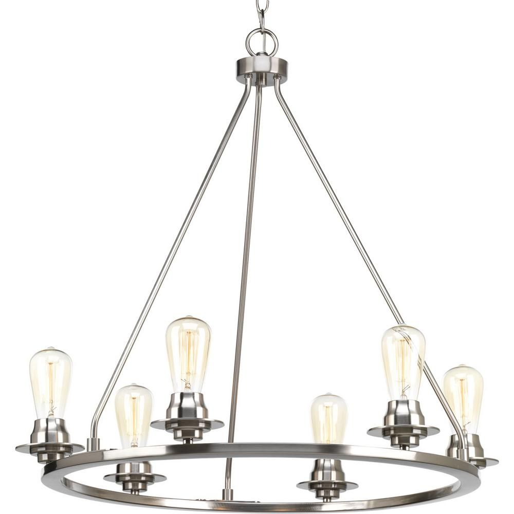 Progress lighting debut collection 6 light brushed nickel chandelier progress lighting debut collection 6 light brushed nickel chandelier arubaitofo Gallery