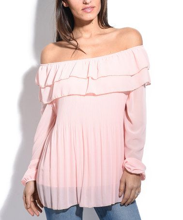 41908f0900a6a Look what I found on  zulily! Light Pink Ruffle Off-Shoulder Top ...
