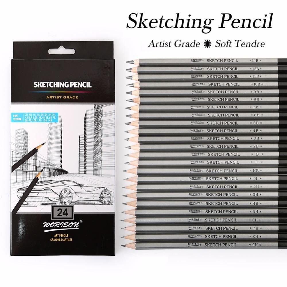 24pcs Art Graphite Drawing Pencil Non-toxic Colored Paint Sketch Pencil 9H-14B 24 hardness