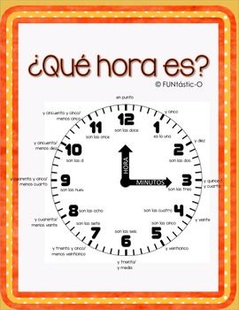 Telling Time in Spanish   Spanish, Other and Colors