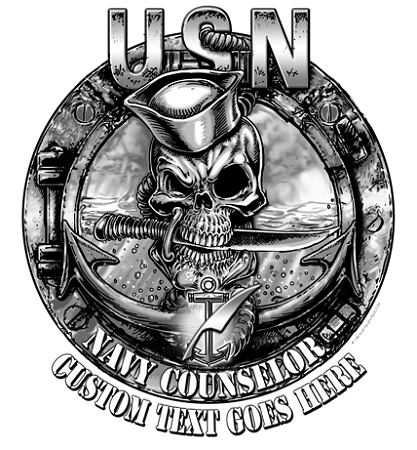 Navy Counselor (NC) Rate Skull Black/White Military Shirt $19.95 ...