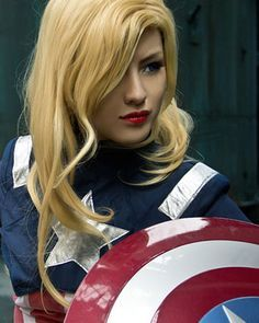 Captain America (Female) - Best of Cosplay Collection  There's a lot of ways to Gender, bend Steve Rogers. Some have long hair, some short. Some show skin, some don't. My particular bend is really something off the beat path. A sexy burlesque costume for a beginner. It's pretty ambitious but I think Captain America would be supportive.
