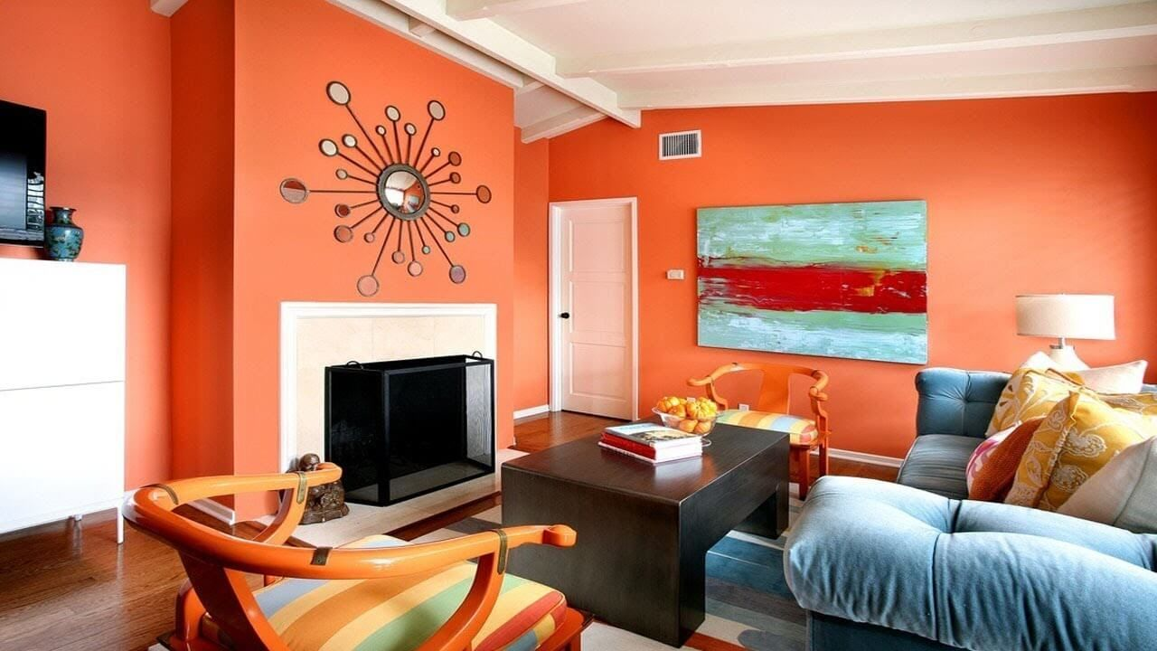 Look Out For Dazzling 2019 Color Trends Home Room Color Combination Living Room Orange Wall Paint Colour Combination