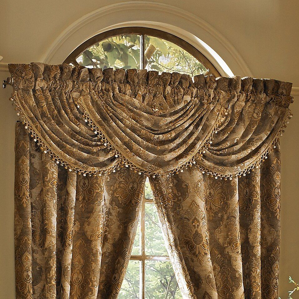 J Queen New York Bradshaw Valance In Natural Bed Bath Beyond Waterfall Valance Gold Curtains Living Room Curtain Designs For Bedroom