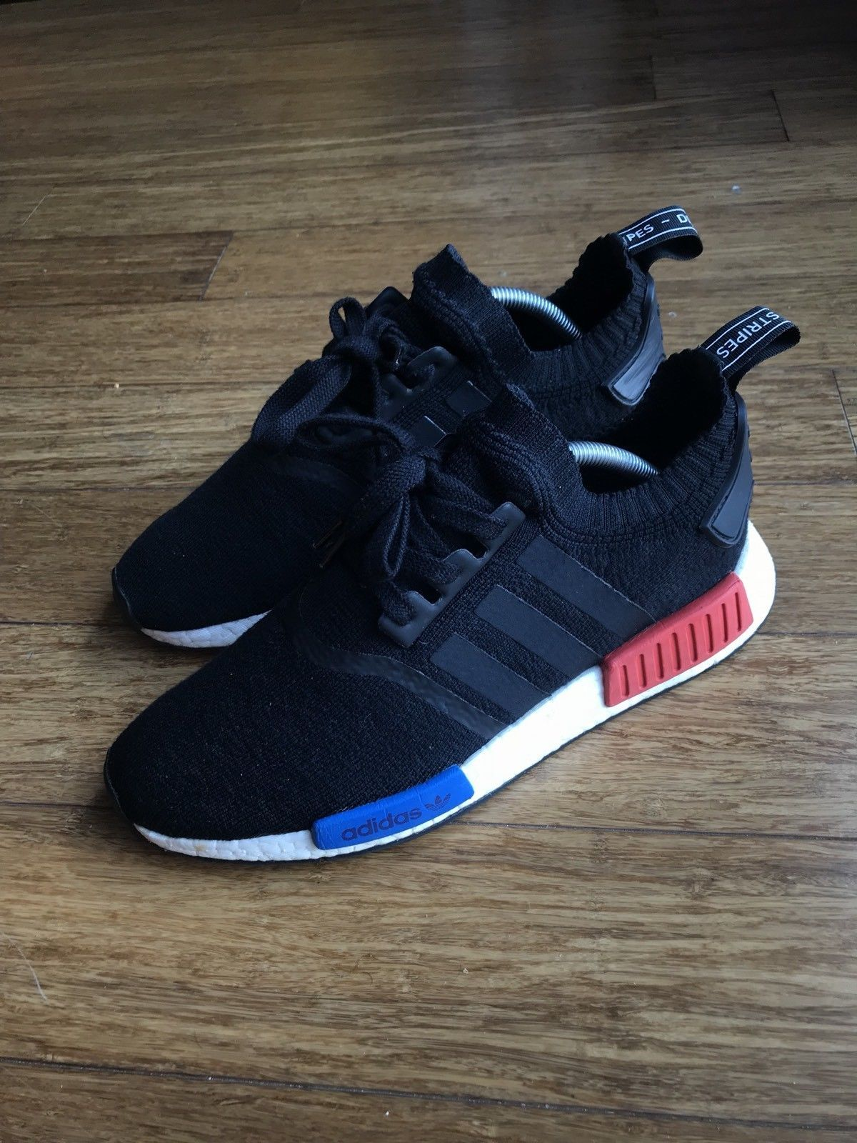 Adidas Men NMD R1 Primeknit Black Blue Red Casual Shoes Sz 9 ... b56df3cd10