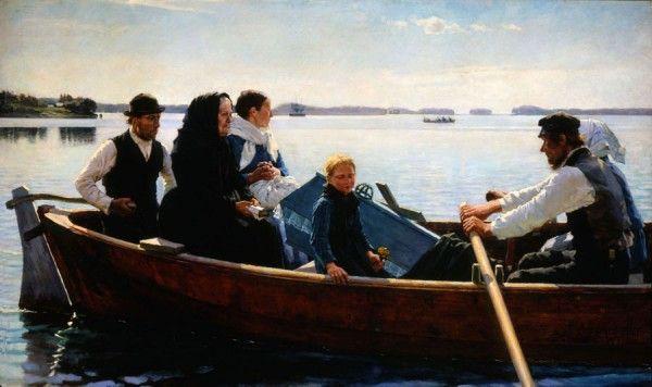 Albert Edelfelt, Lapsen ruumissaatto, 1879, öljymaalaus. Ateneumin taidemuseo. Kuva: Douglas Sivén.