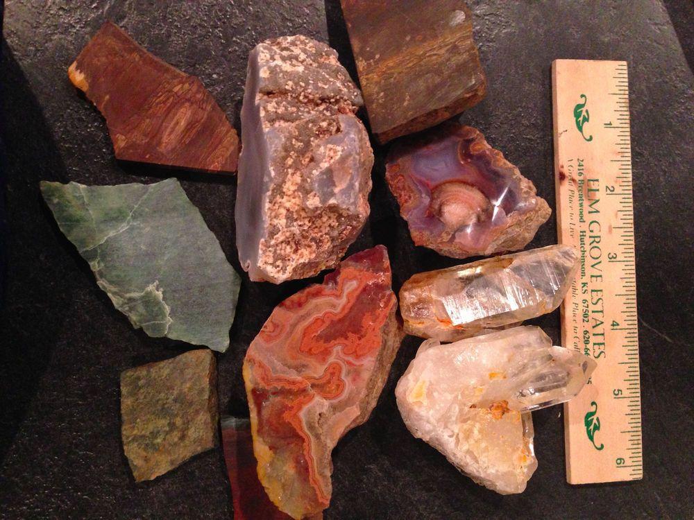 Lot of rocks, crystal,agate, jade, tiger iron.