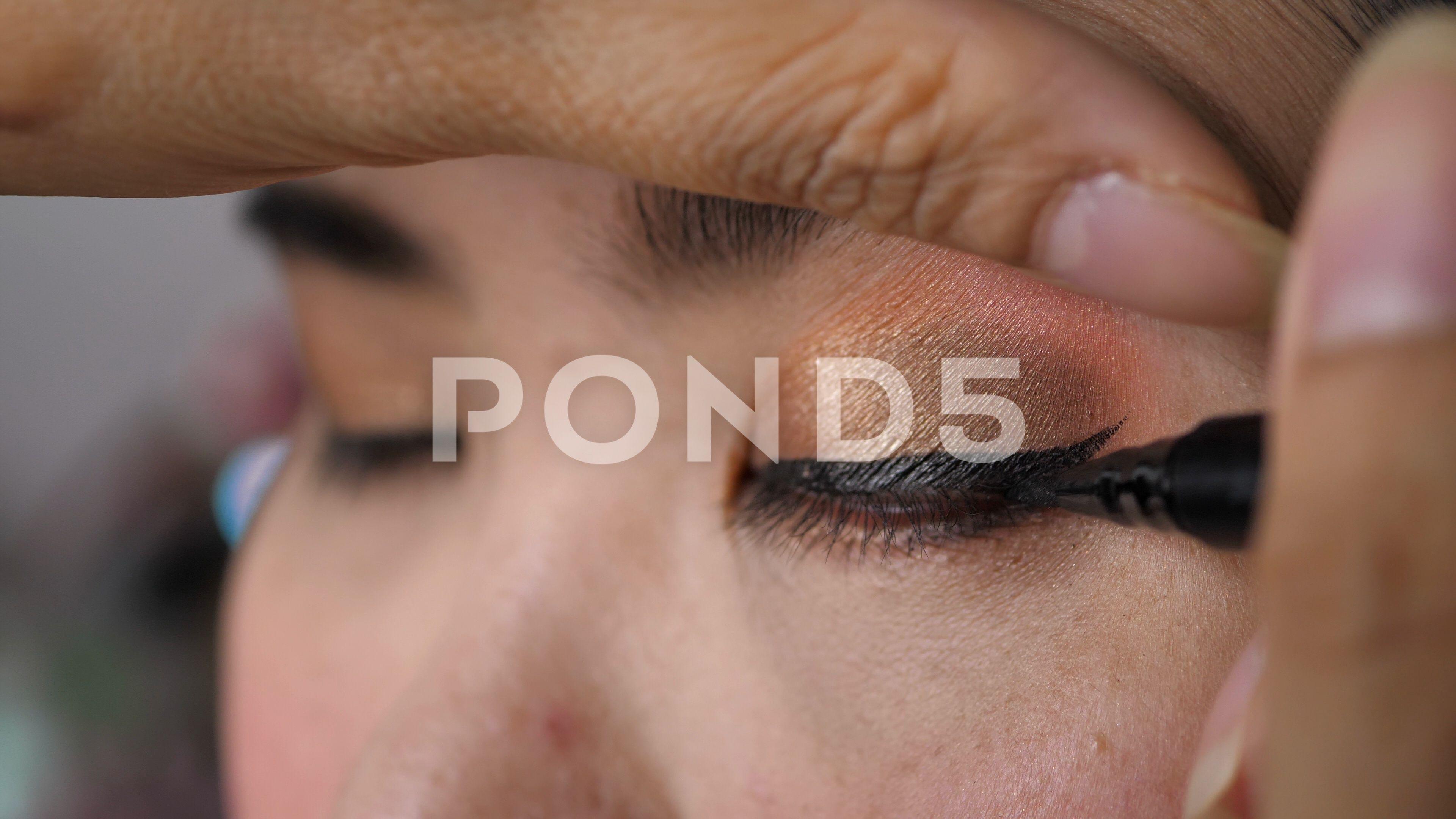 Slow Motion Eyeliner Pen Makeup Beauty Of Beautiful Eye Stock