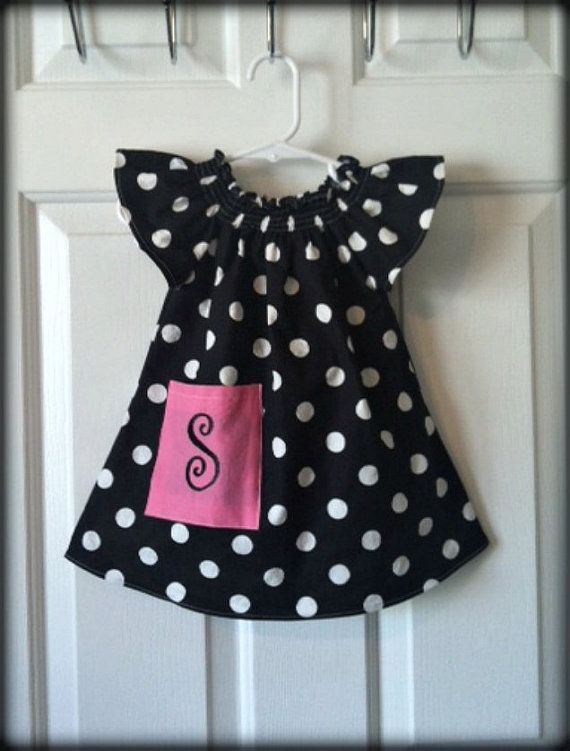 Black And White Polka Dot Flutter Peasant Dress By