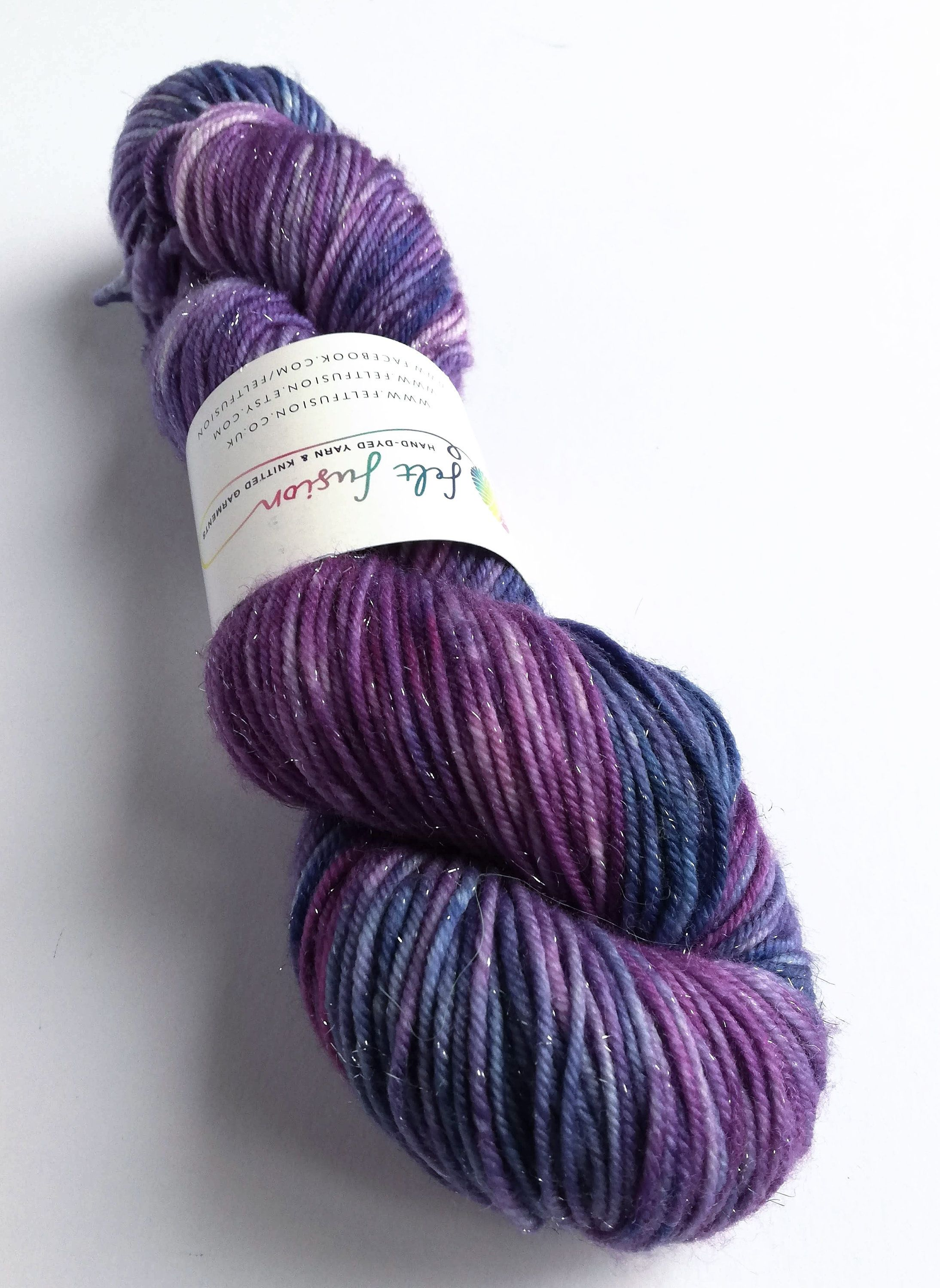 Purple and Silver Sparkle Fingering4ply Yarns ~100g skein