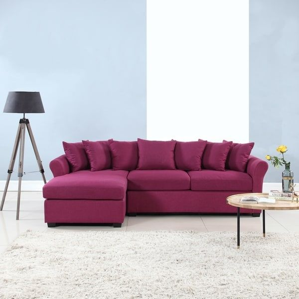 Fabric Sectional Sofas, Large Linen Fabric Sectional Sofa With Left Facing Chaise Lounge