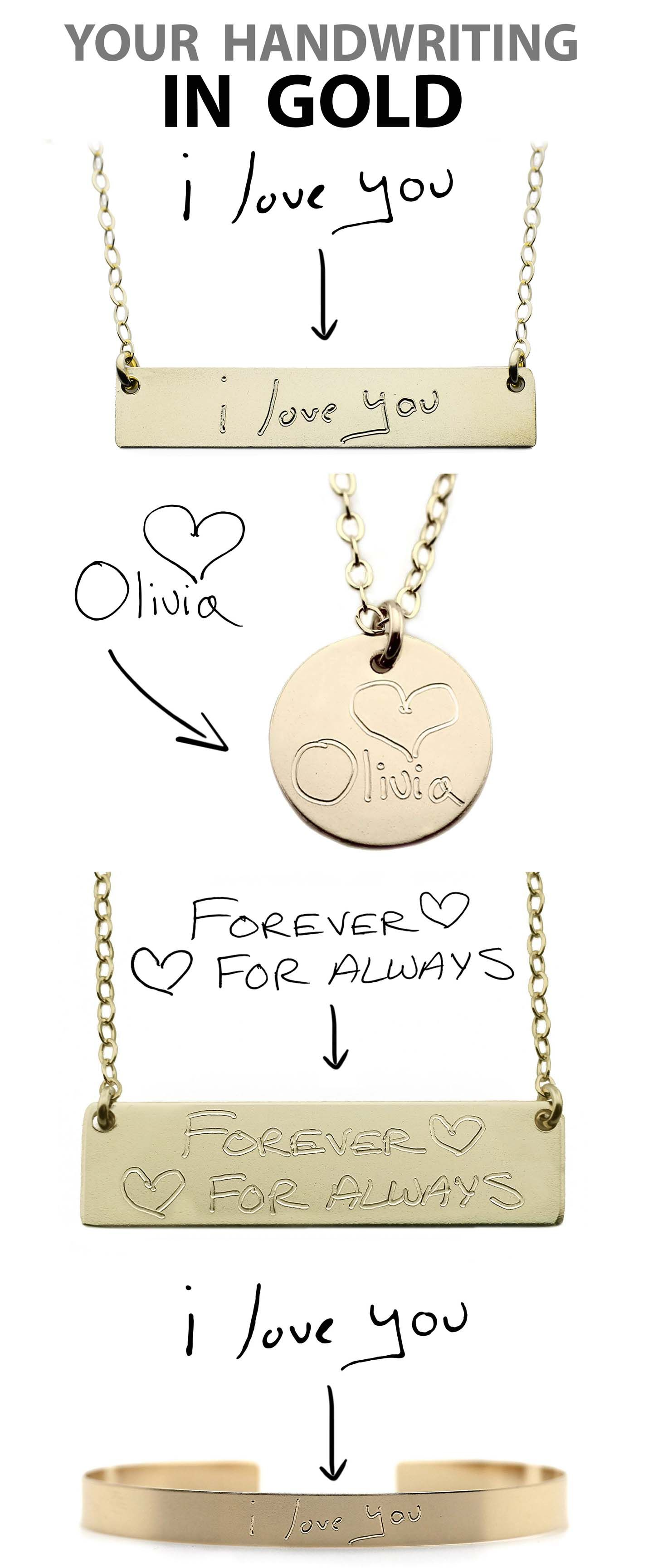 Your Handwriting In Gold Custom Handwriting Necklaces 14K Gold