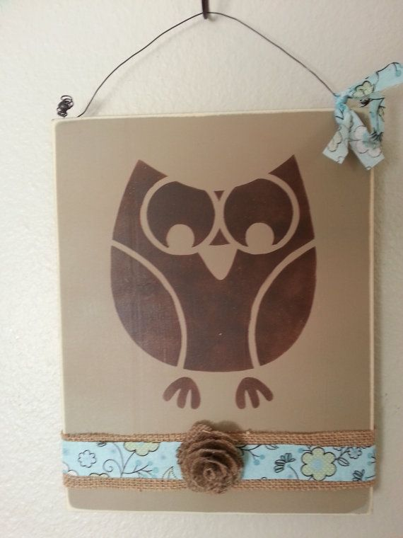 hand painted wall decor owl theme home decorsimplegalz on etsy