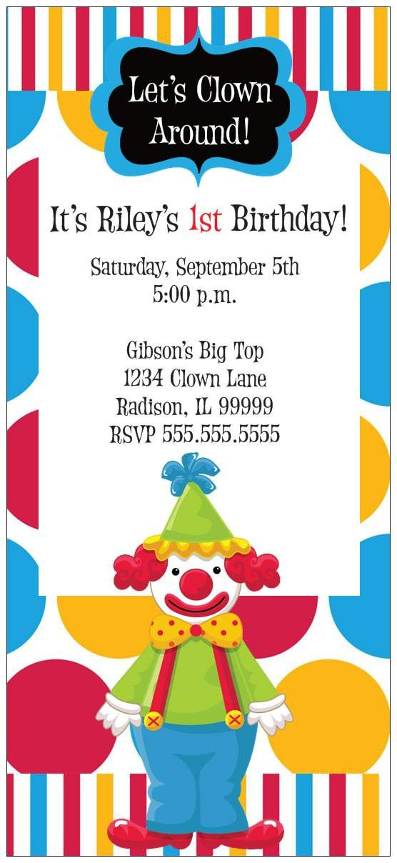 Set Of 10 Clown Carnival Birthday Party By Partyplanitdesigns