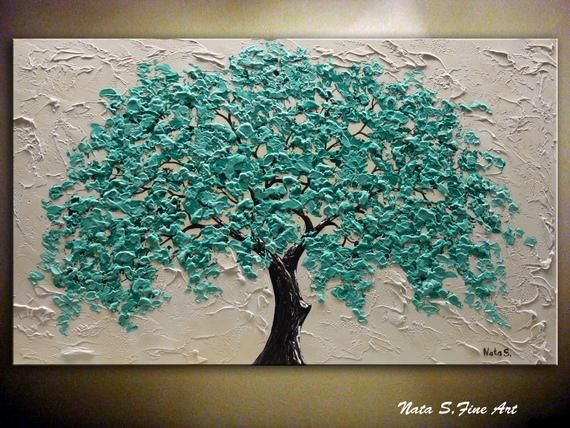 Turquoise Tree Painting, Blossom Tree Art, Texture