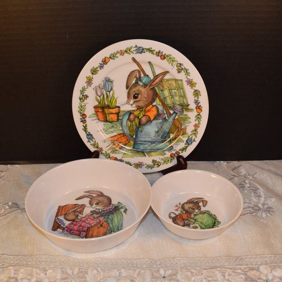 Oneida Deluxe Children 39 S Dishes Bunny Rabbits Vintage Melamine Child Dish Set Peter Rabbit Kid Plate 2 Bowls Ch Childrens Dishes Antique Dishes Kids Plates