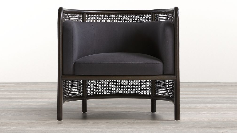 Fields Cane Back Charcoal Accent Chair In 2020 White Accent