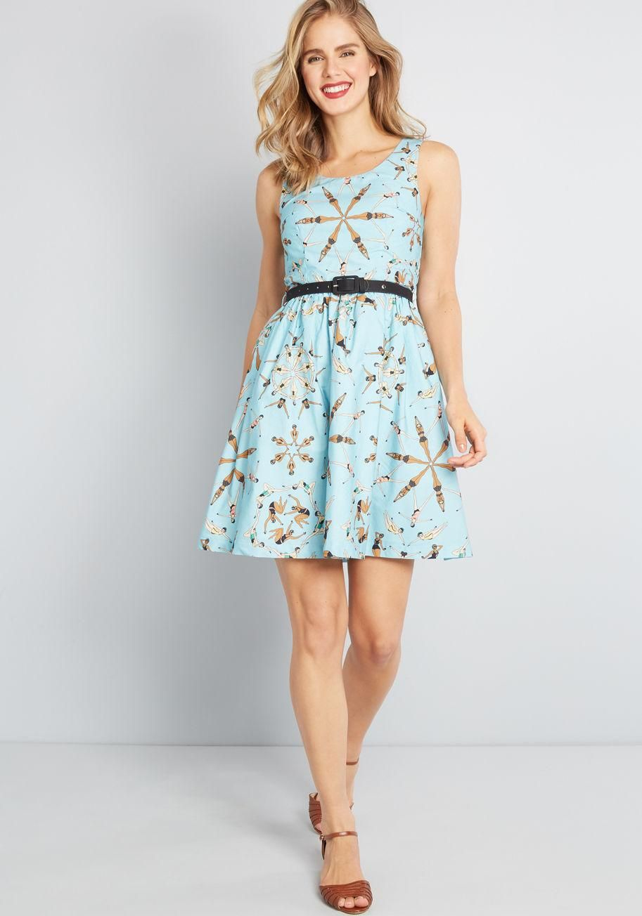 eb56c157e8 ModCloth x Dupenny Optimistic Effect Sleeveless Dress You re fit to be  flared in this printed dress! Boasting a light blue background color